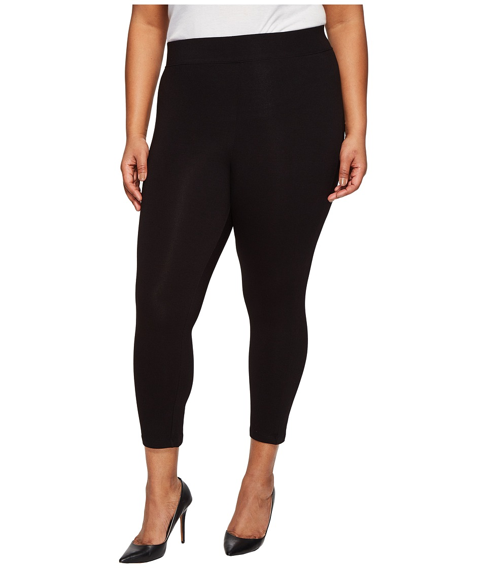 HUE Plus Size Temp Control Cotton Capris (Black) Women