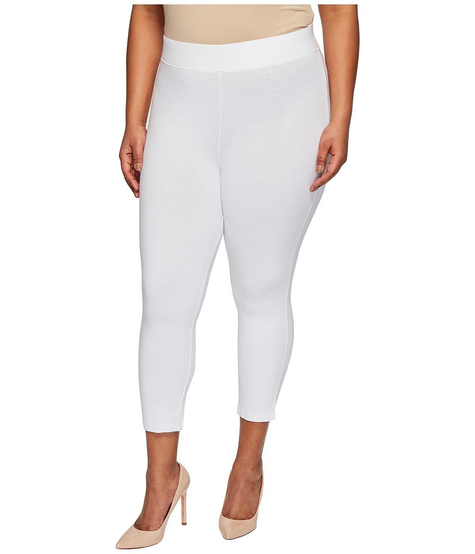 HUE Plus Size Temp Control Cotton Capris (White) Women