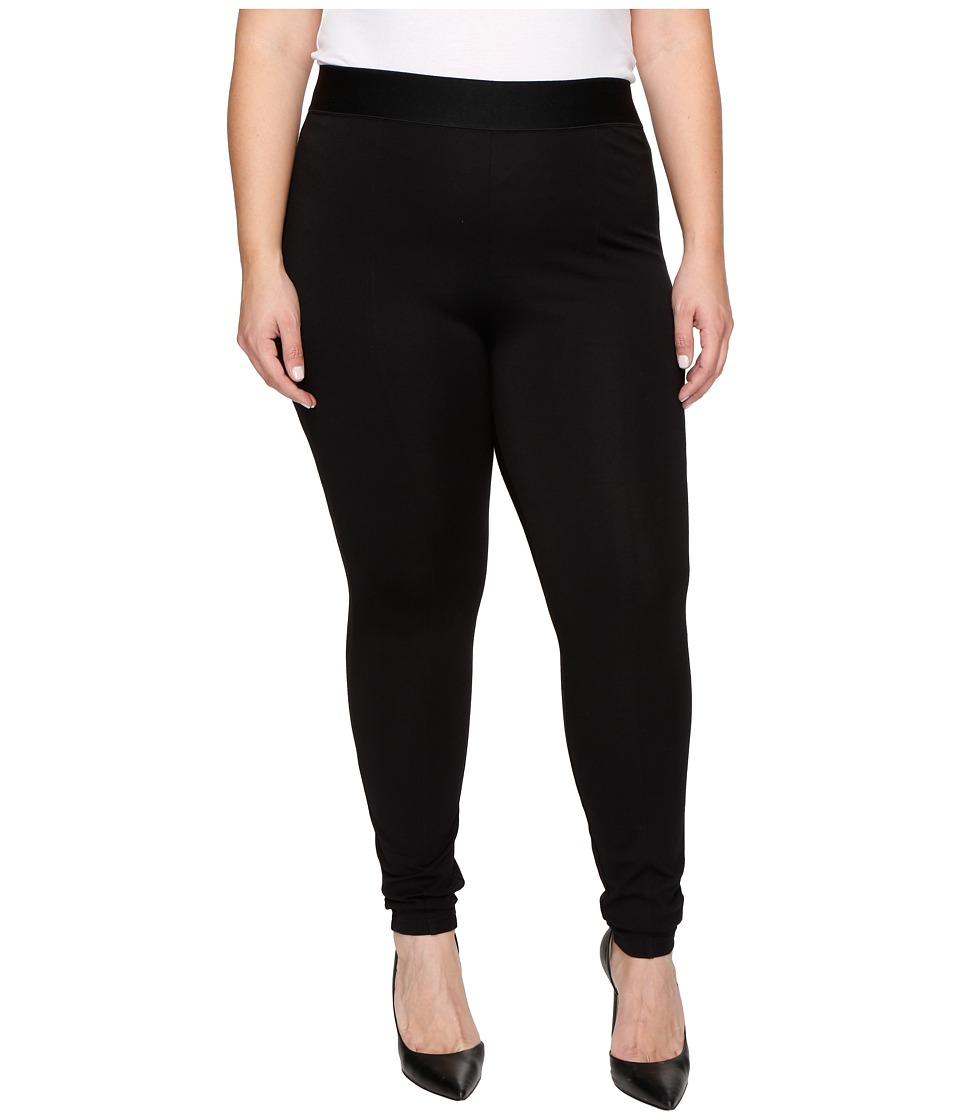 HUE - Plus Size High Waist Blackout Ponte Leggings (Black) Womens Casual Pants
