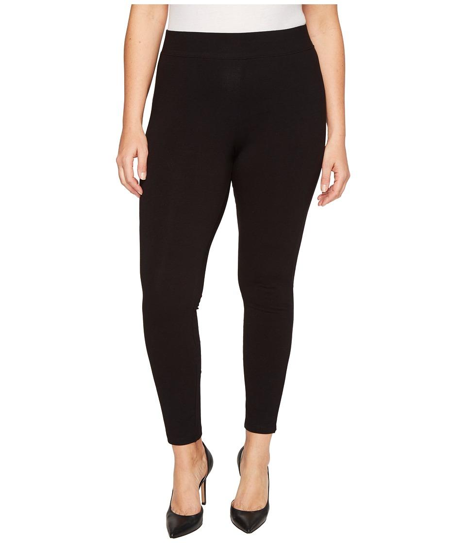 HUE Plus Size Temp Control Cotton Leggings (Black) Women