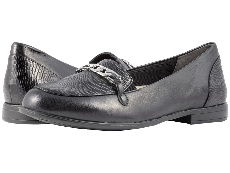 Trotters Anastasia (Black Leather/Lizard Stamp) Flats