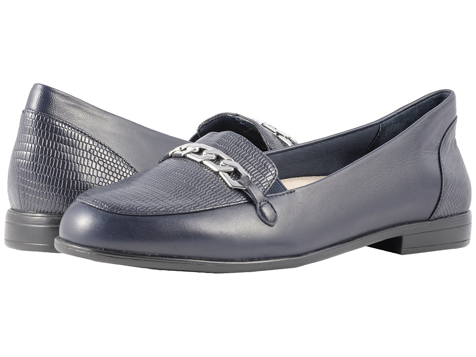 Trotters Anastasia (Navy Leather Lizard/Stamp) Flats