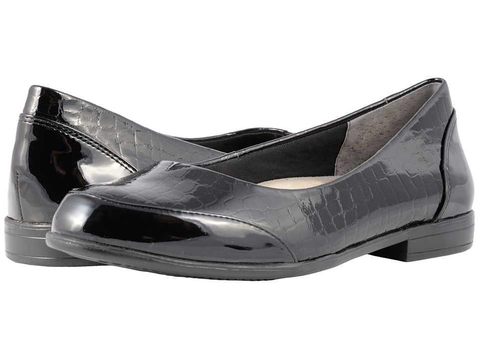 Trotters Arnello (Black Croco Stamp/Patent) Women