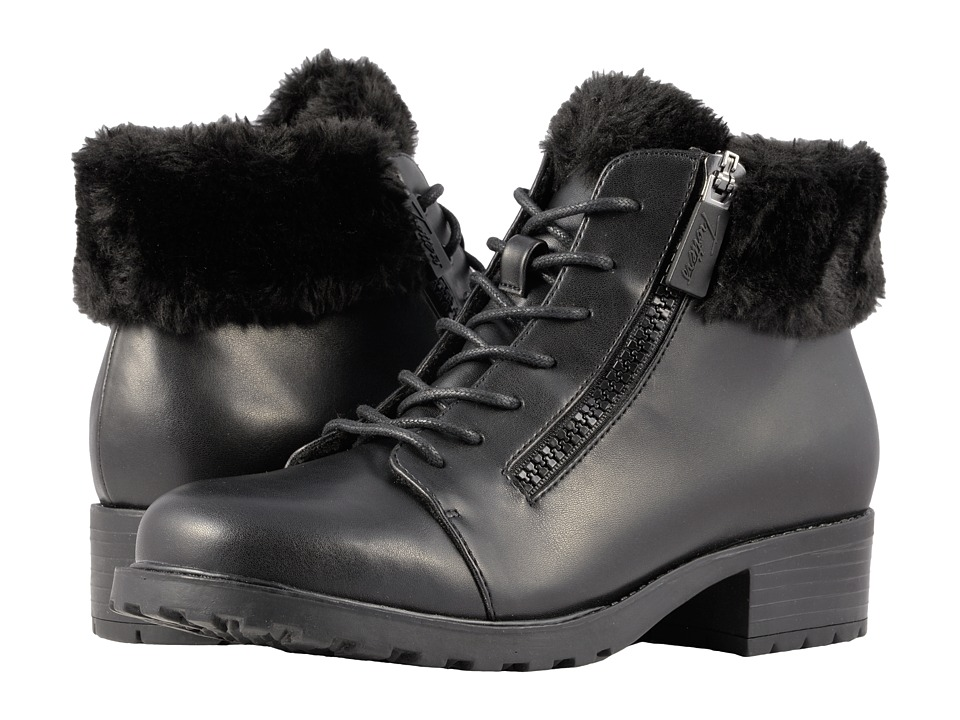 Trotters Below Zero Waterproof (Black Smooth PU Waterproof/Faux Fur)
