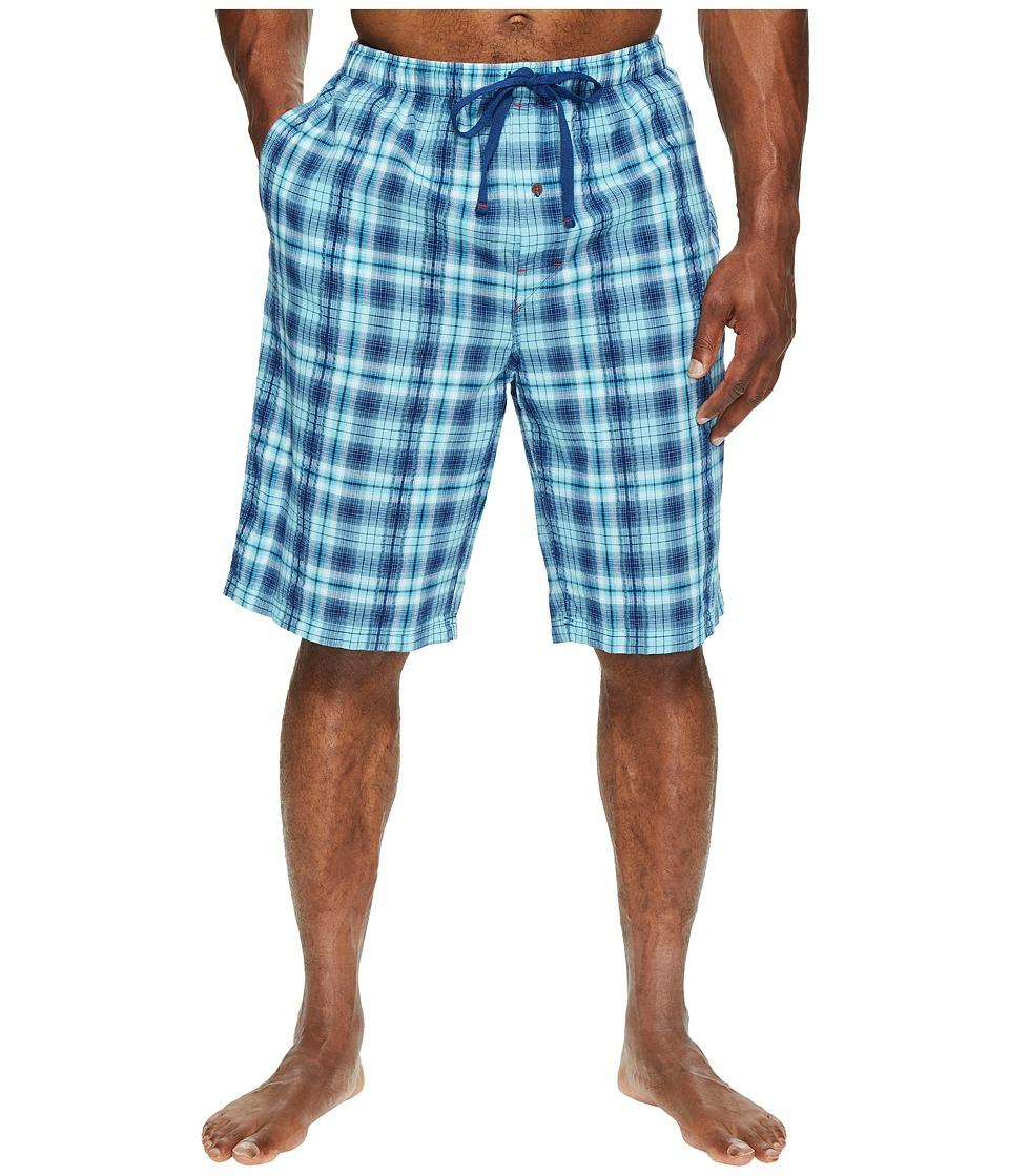Tommy Bahama Big Tall Woven Seersucker Jam Shorts (Blue Plaid) Men