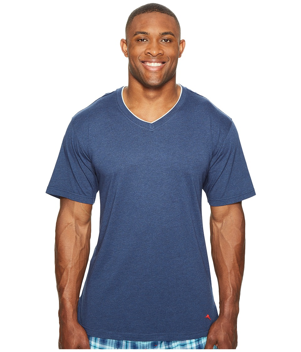 Tommy Bahama Big Tall V-Neck Short Sleeve T-Shirt (Indigo Heather) Men