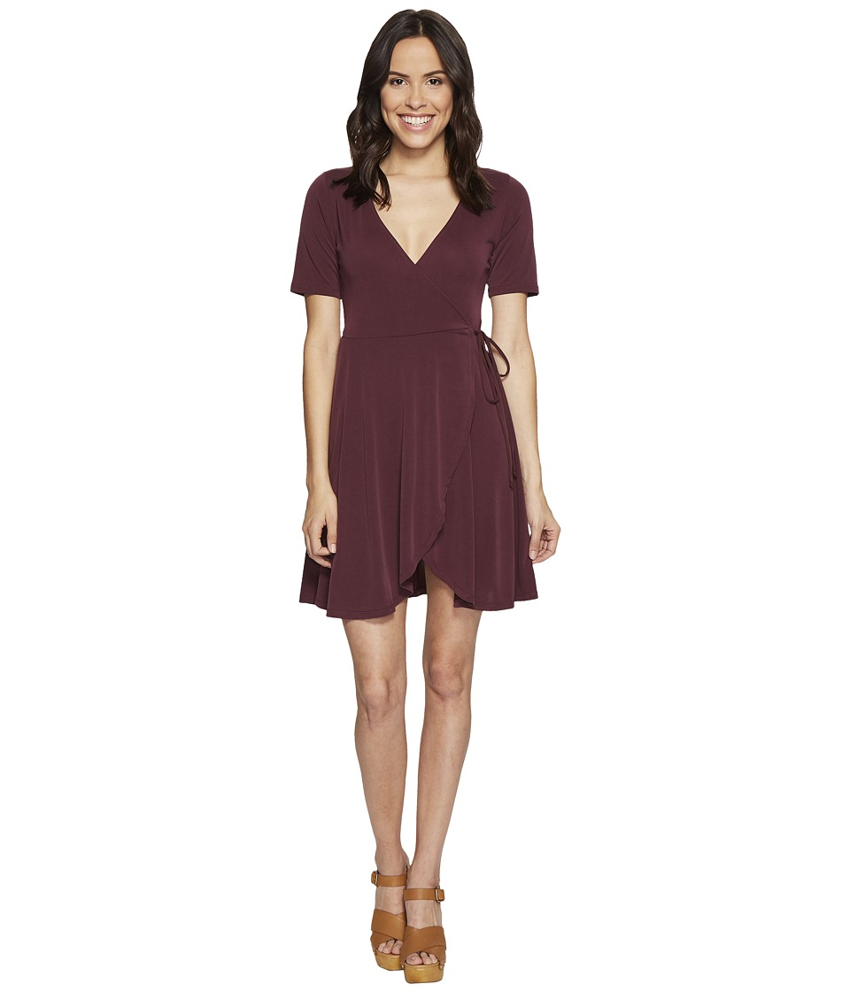 Culture Phit Aerin Short Sleeve Wrap Dress (Marsala) Women
