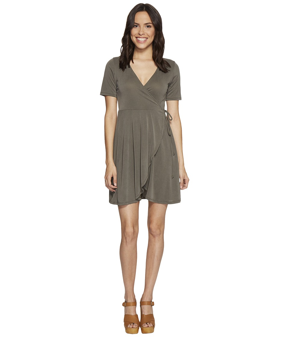 Culture Phit Aerin Short Sleeve Wrap Dress (Olive) Women