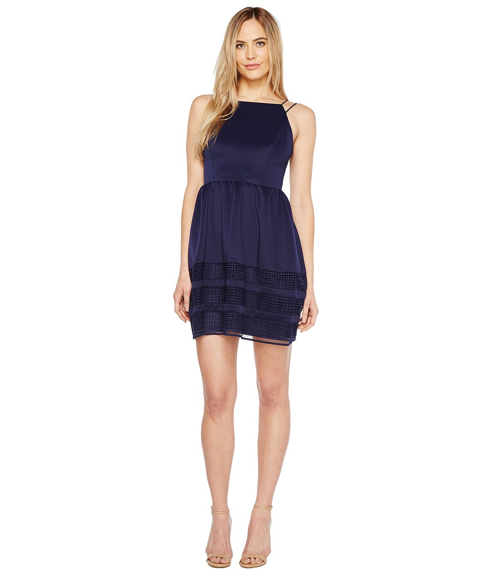 Aidan Mattox Scuba Shadow Stripe Cocktail Dress (Navy) Women