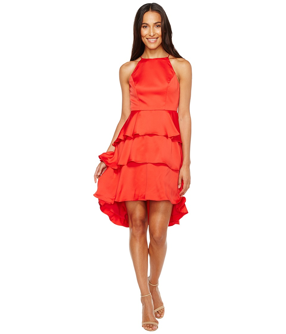 Aidan Mattox - Satin Tiered Halter Cocktail Dress