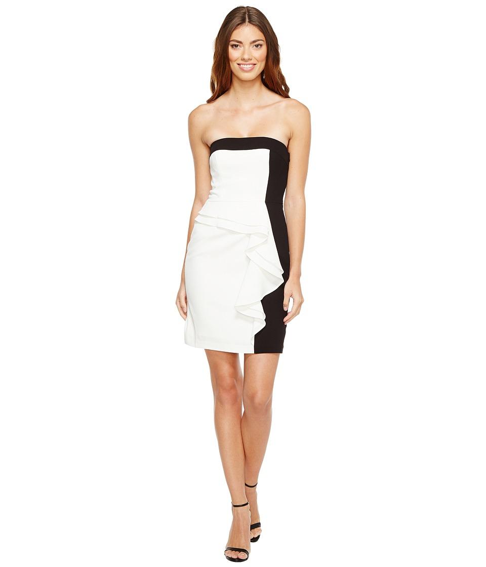 Aidan Mattox Color Block Strapless Cocktail Dress (Ivory/Black) Women