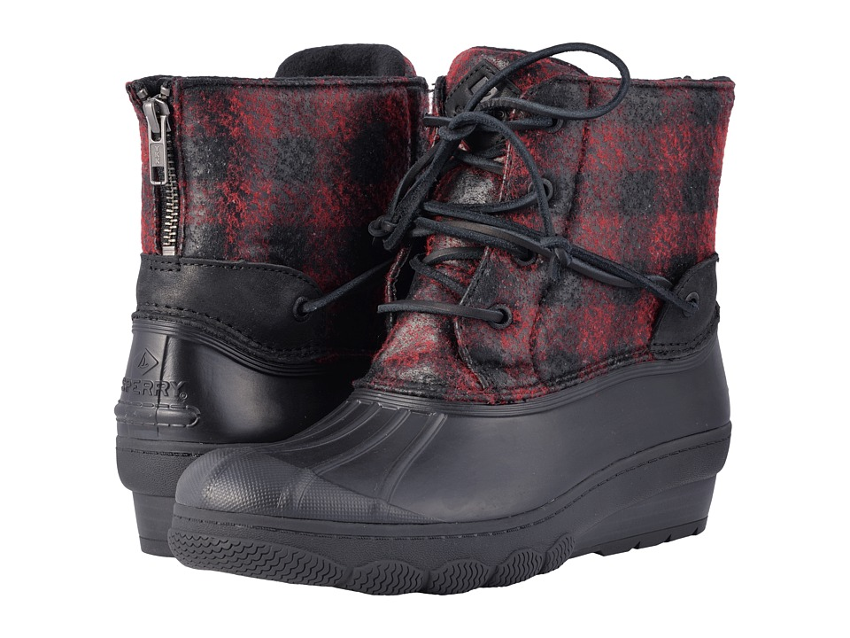 Sperry Saltwater Wedge Tide Wool (Black/Red/Buffalo Plaid) Women