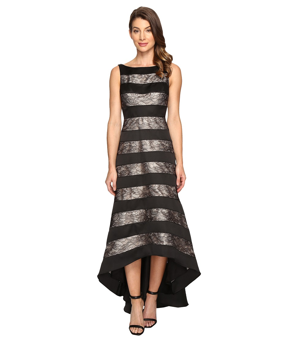 Adrianna Papell - Striped Lace Mikado Hi-low Dress