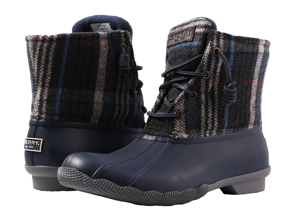 Sperry Saltwater Wool Plaid (Navy) Women