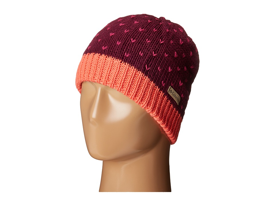 Columbia - Powder Princess Hat (Youth) (Dark Raspberry/Hot Coral) Knit Hats
