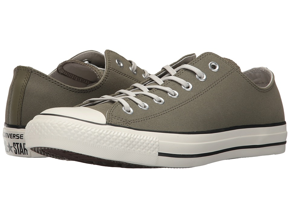 Converse Chuck Taylor All Star Coated Leather OX (Medium Olive/Black/Egret) Athletic Shoes