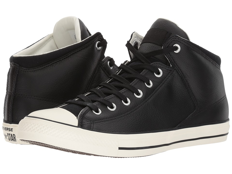 1960s Style Men's Clothing, 70s Men's Fashion Converse - Chuck Taylor All Star Street Hi - Tumbled Leather BlackBlackEgret Classic Shoes $69.95 AT vintagedancer.com