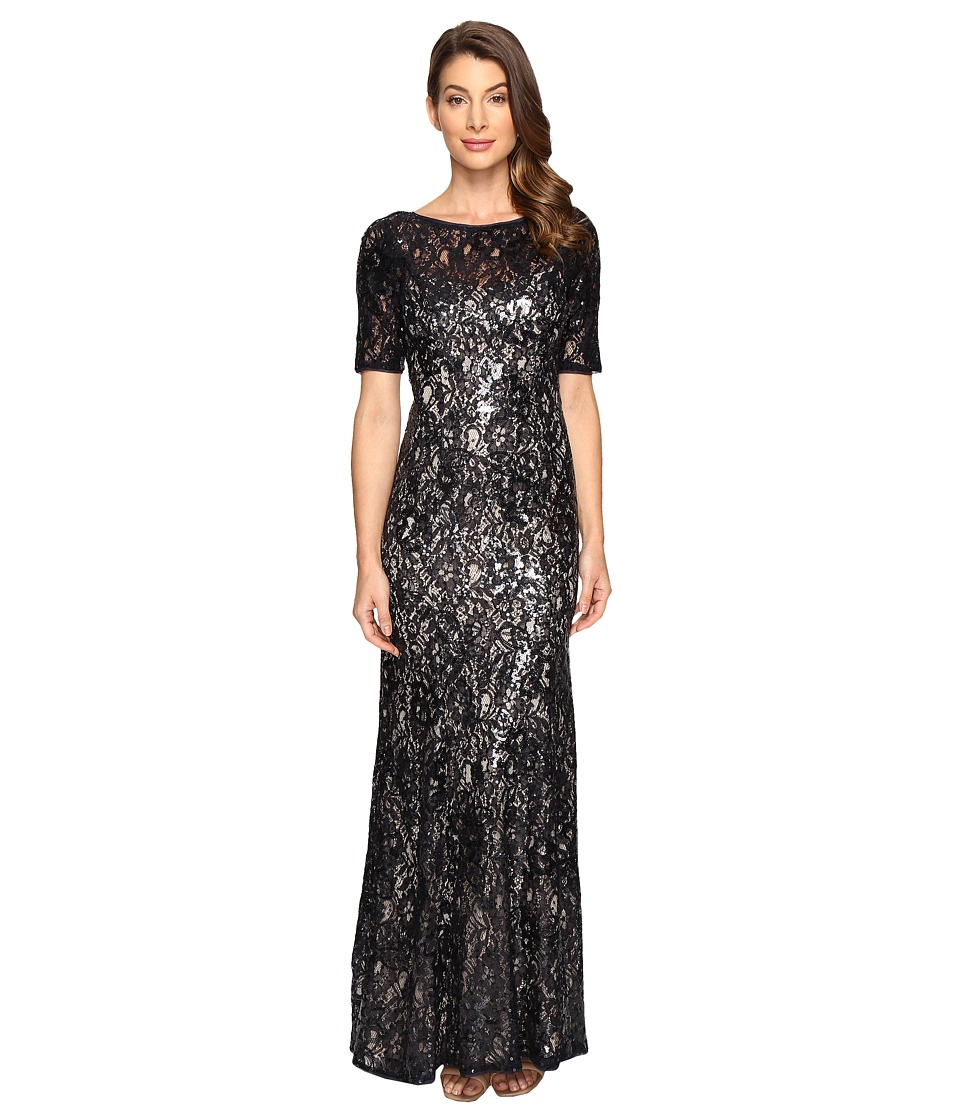 Adrianna Papell - Short Sleeve Sequin Lace Mermaid Gown