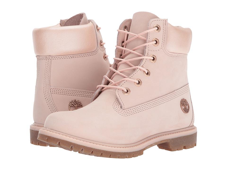 Timberland 6 Premium Boot (Light Pink Nubuck/Metallic Collar) Women