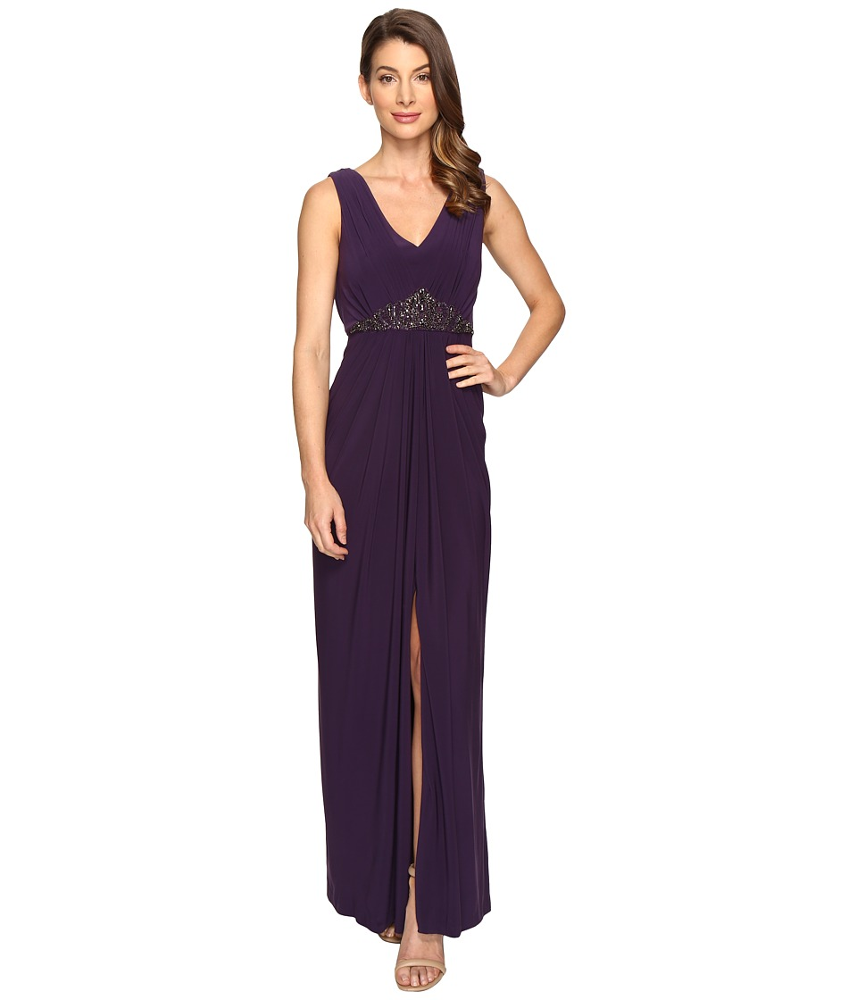 Adrianna Papell - Draped Back Jersey Gown (Aubergine) Womens Dress