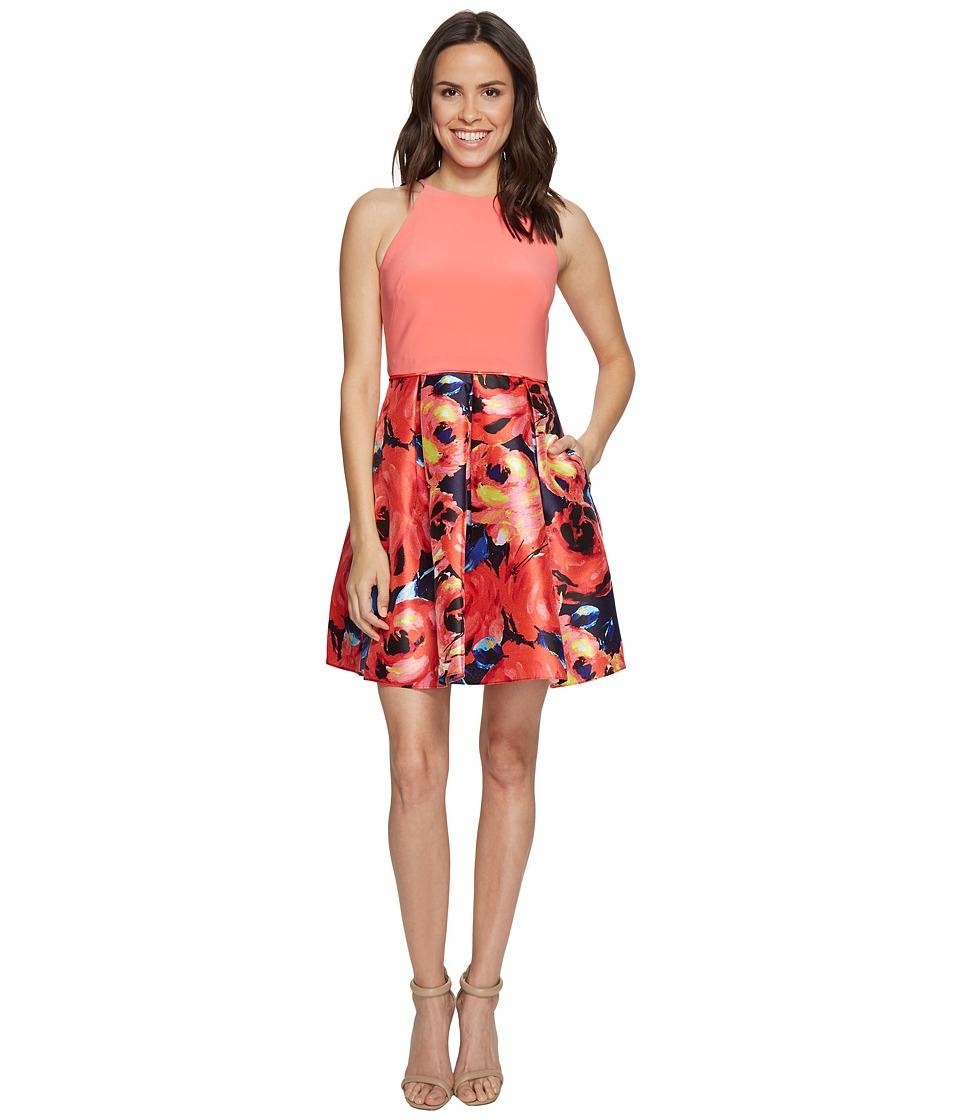 Adrianna Papell - Jersey Halter Mikado Print Cocktail Dress