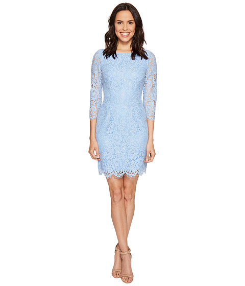 Adrianna Papell Long Sleeve Metallic Lace Sheath Dress - Zappos ...