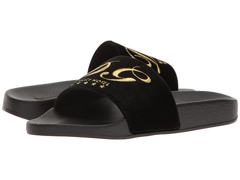 Dolce & Gabbana Rubberized Leather DG Pool Slide - Black
