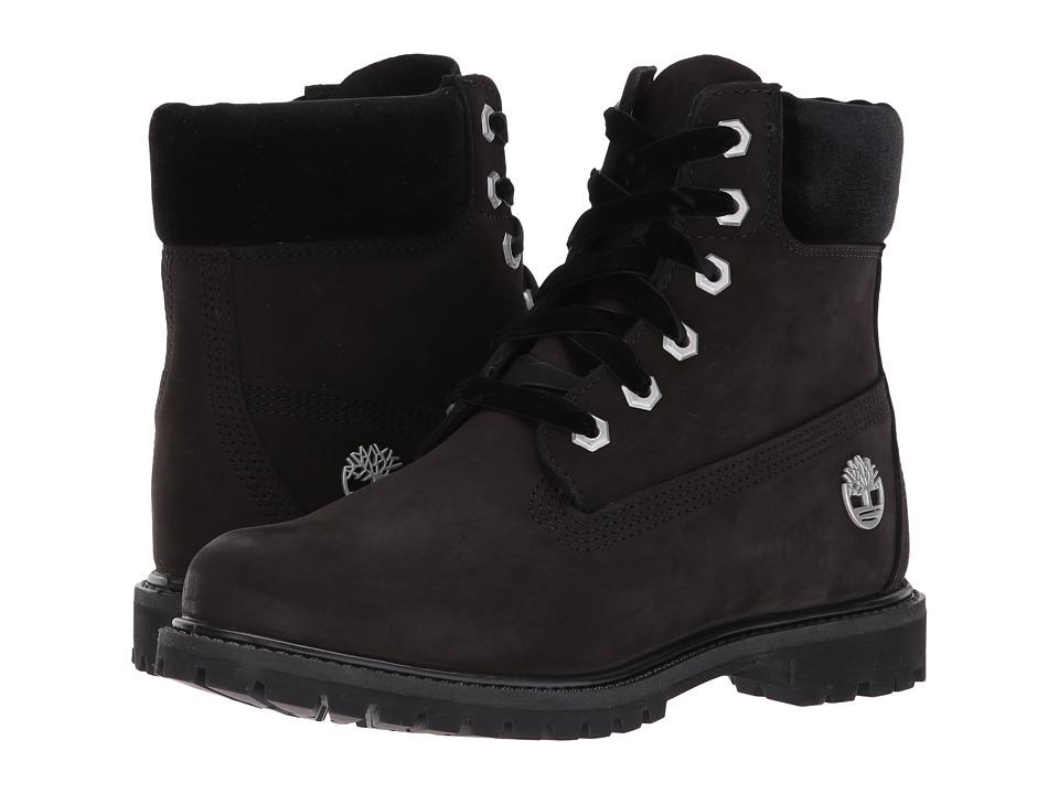Timberland 6 Premium Leather and Fabric Waterproof Boot (Black Nubuck/Velvet Collar) Women