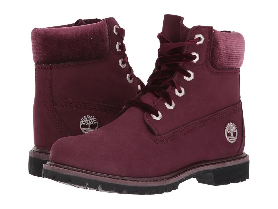 Timberland 6 Premium Leather and Fabric Waterproof Boot (Burgundy Nubuck/Velvet Collar) Women