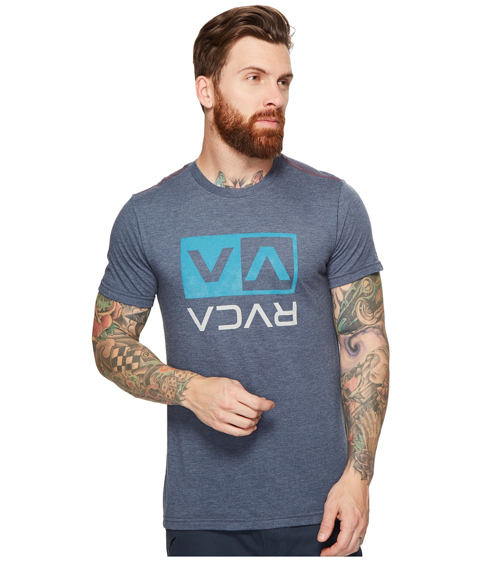 RVCA Two Color Flipped Box Tee (Dark Denim) Men