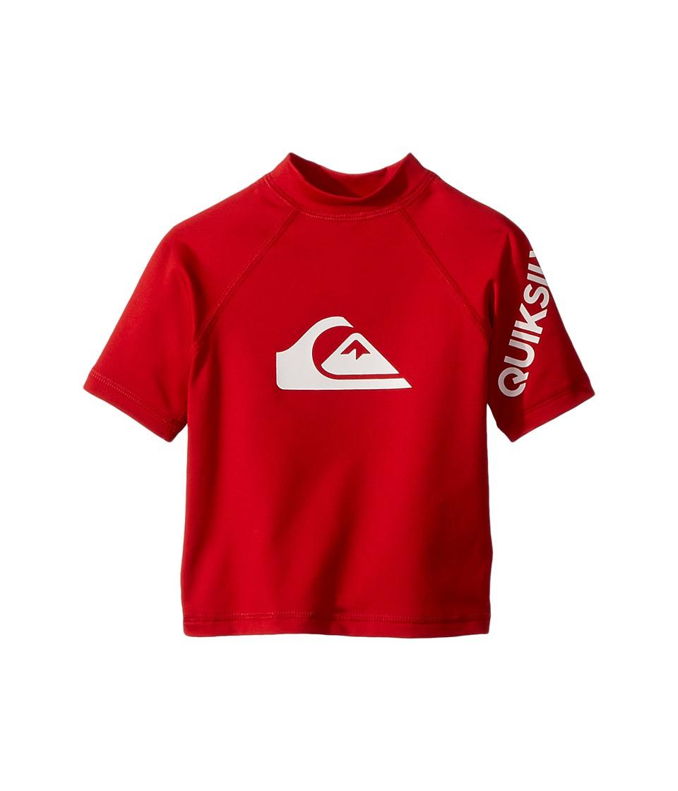 Quiksilver Kids - All Time Short Sleeve Rashguard (Toddler/Little Kids) (Quik Red) Boys Swimwear