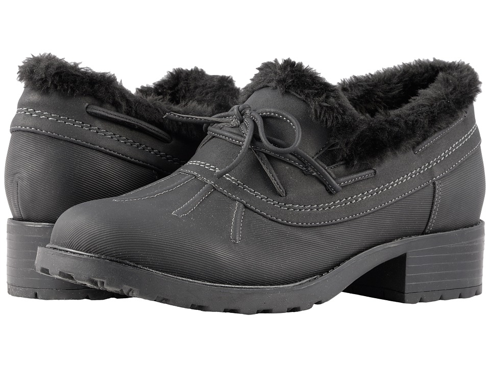 Trotters Brrr Waterproof (Black Rubberized Waterproof/Nubuck PU Waterproof/Faux Fur) Women's Shoes