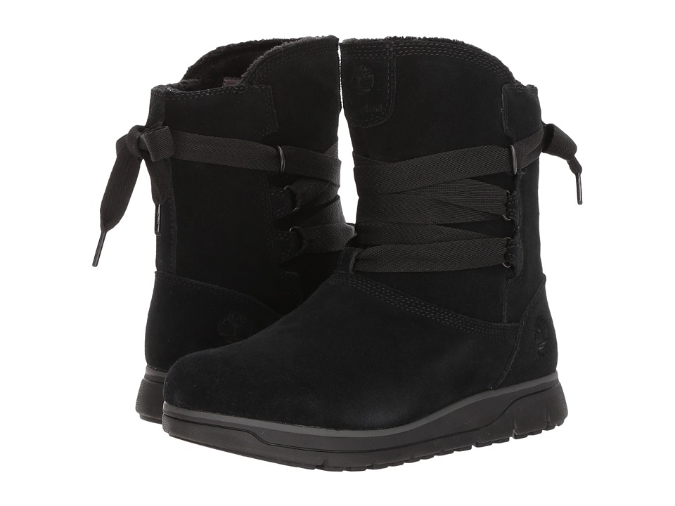 Timberland Leighland Pull-On Waterproof Boot (Black Suede) Women