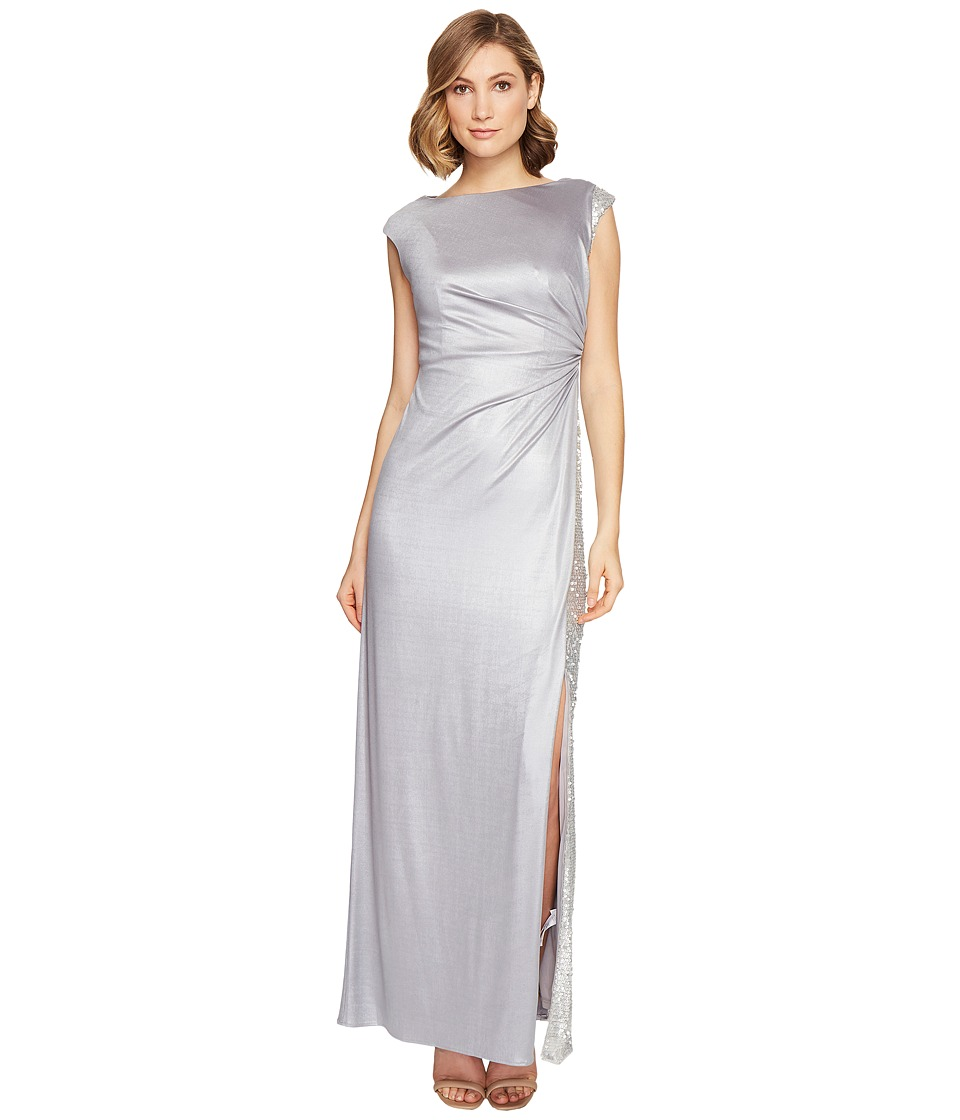 Adrianna Papell Jersey Draped Sequin Inset Gown (Silver) Women