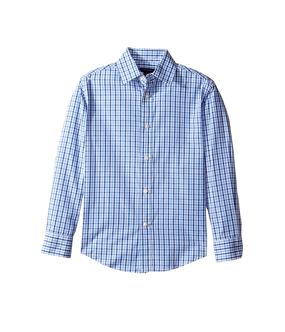 Tommy Hilfiger Kids - Alternating Gingham Shirt (Big Kids) (Medium Blue) Boys Clothing