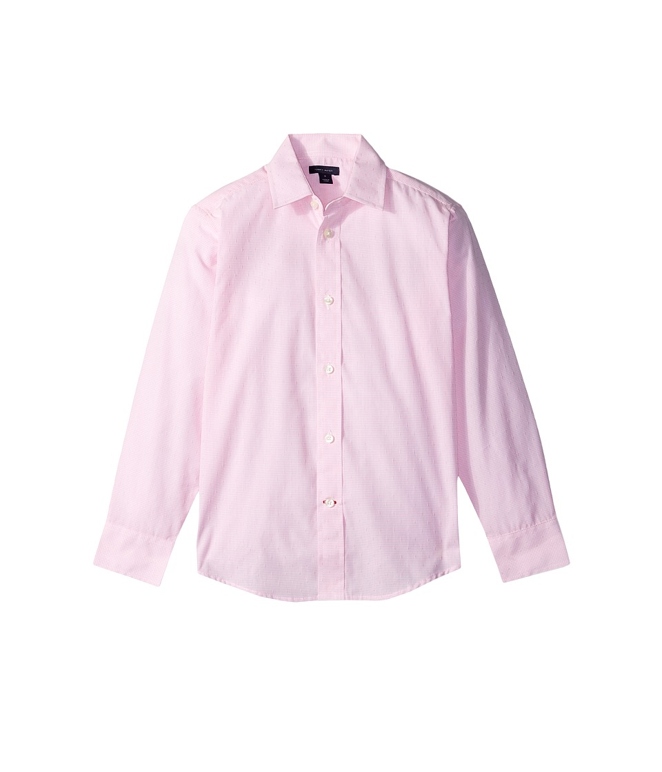 Tommy Hilfiger Kids - Cross Gingham Shirt (Big Kids) (Light Pink) Boys Clothing