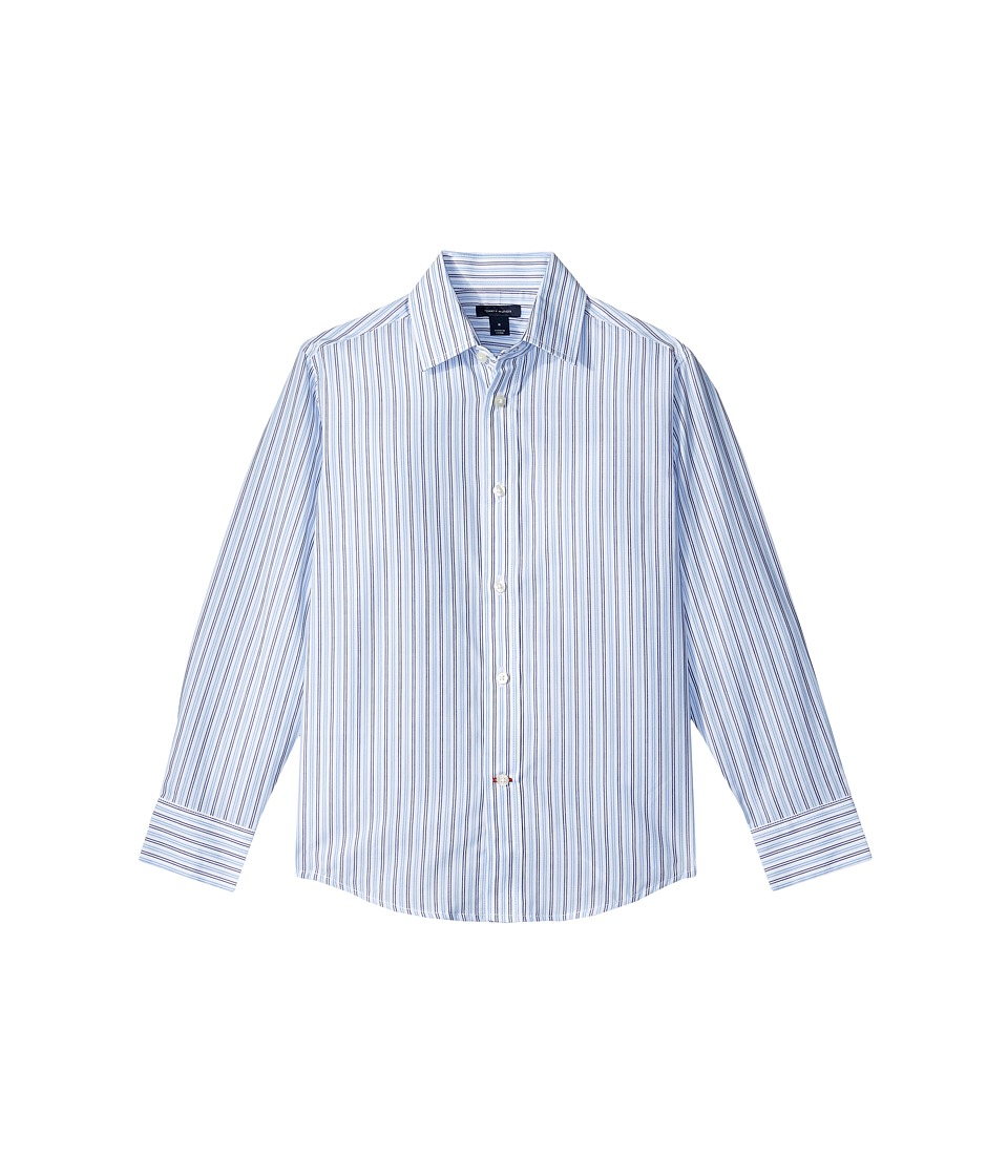 Tommy Hilfiger Kids - Double Twill Stripe Shirt (Big Kids) (Medium Blue) Boys Clothing