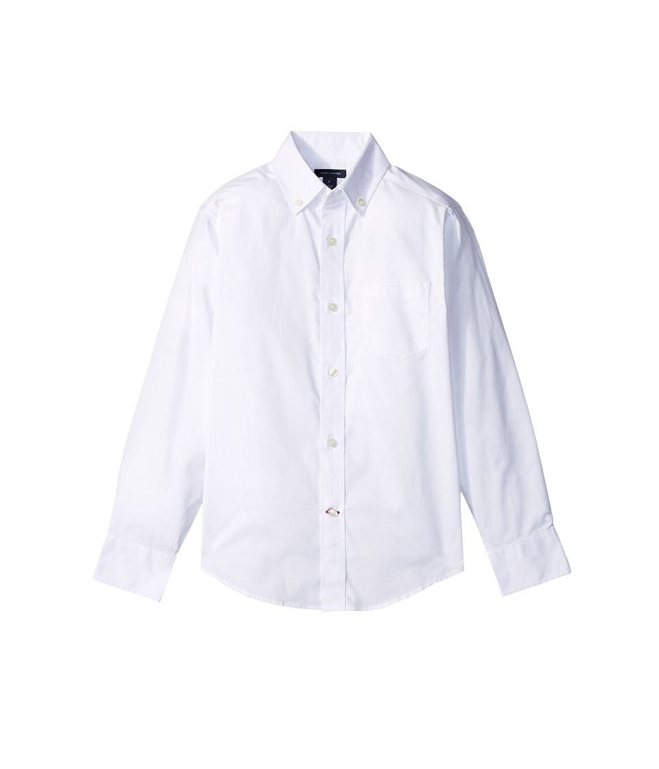 Tommy Hilfiger Kids - Pinpoint Oxford Shirt (Big Kids) (White) Boys Clothing