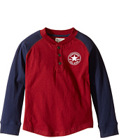 Converse Kids - Long Sleeve Graphic Henley Top (Toddler/Little Kids)