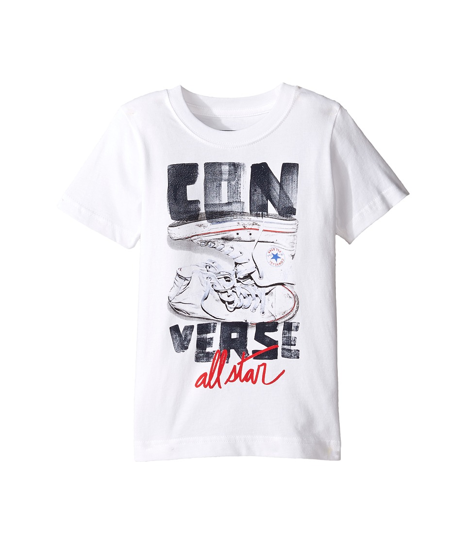 Converse Kids Stack Chucks Tee (Toddler/Little Kids) (White) Boy