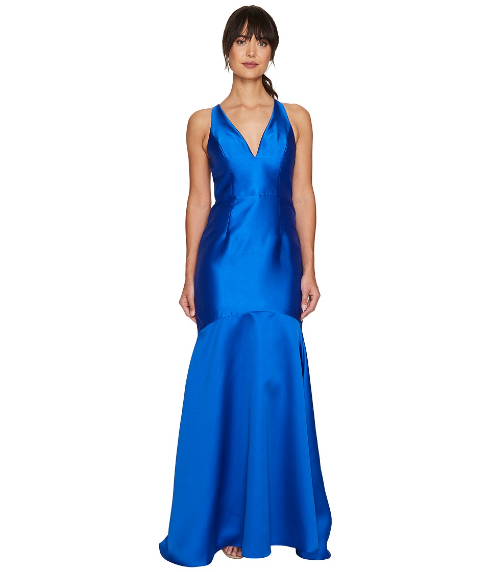 Adrianna Papell - Mikado Plunging Neck Mermaid Gown