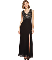 Adrianna Papell - V-neck Bead Bodice Gown