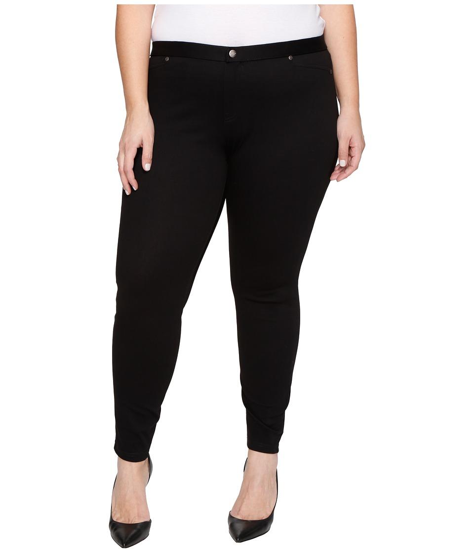 HUE Plus Size Super Smooth Denim Leggings (Black) Women