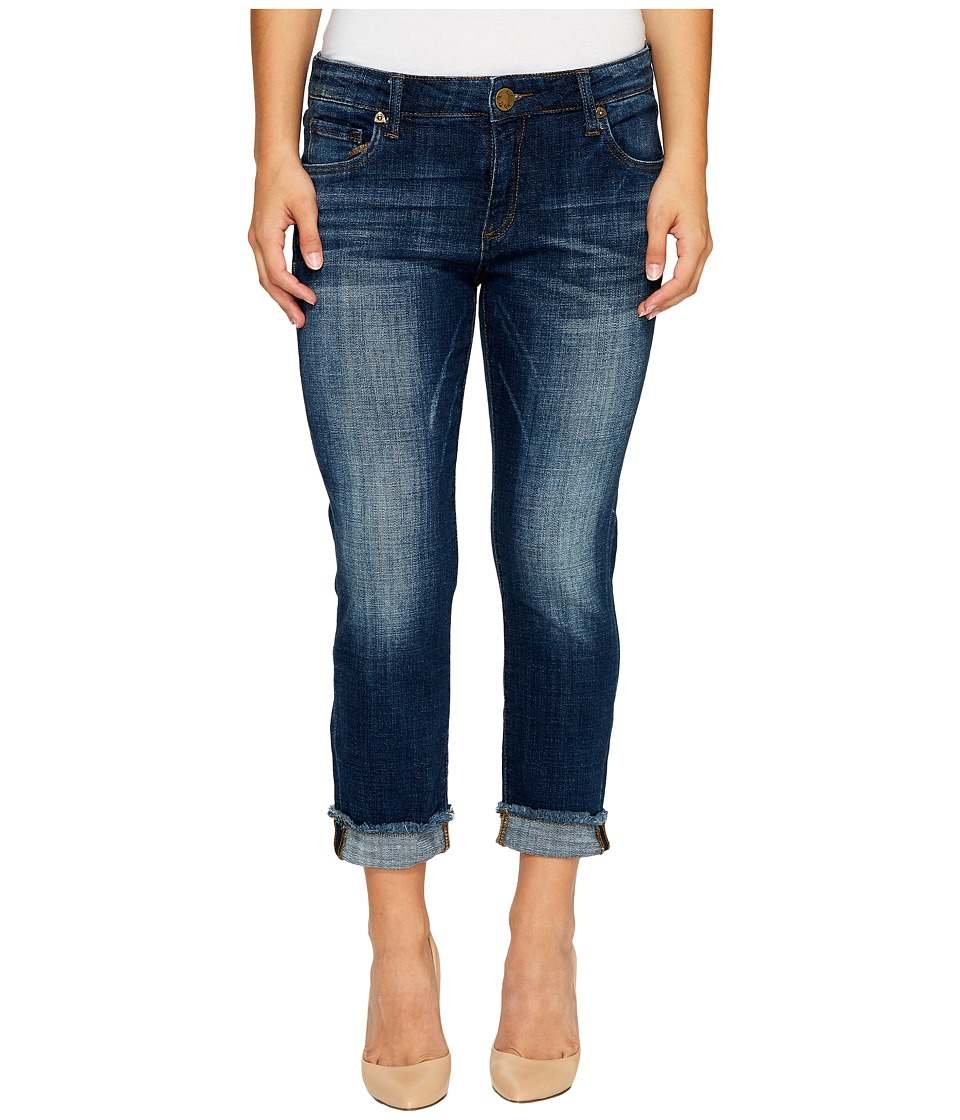 KUT from the Kloth Petite Amy Crop Straight Leg Roll Up Frey Jeans in Celebration (Celebration w/ Medium Base Wash) Women