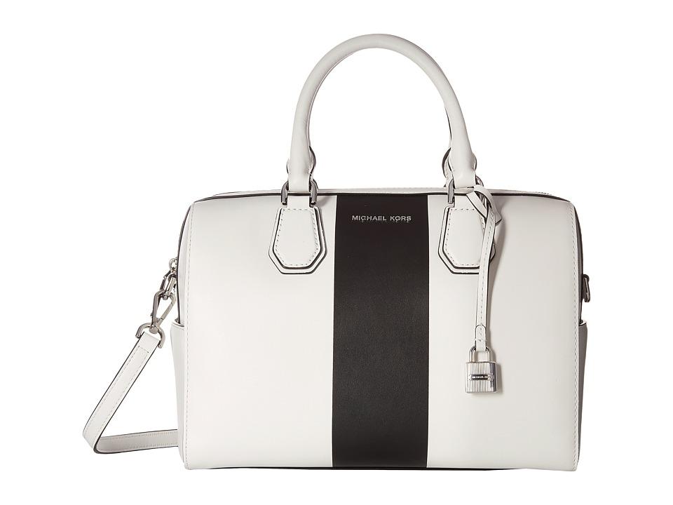 MICHAEL Michael Kors Center Stripe Mercer Medium Duffel (Optic White/Black) Duffel Bags
