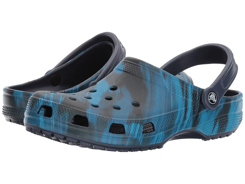 Crocs - Classic Graphic Clog (Blue Jean) Clog/Mule Shoes