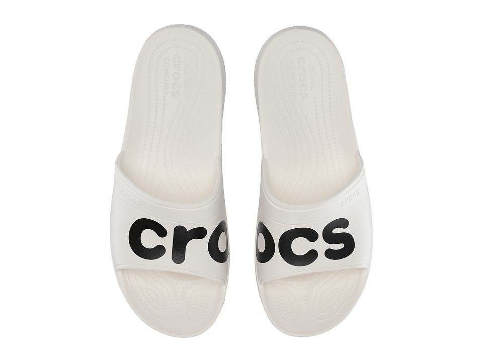 Crocs Classic Graphic Slide (White/Black) Slide Shoes