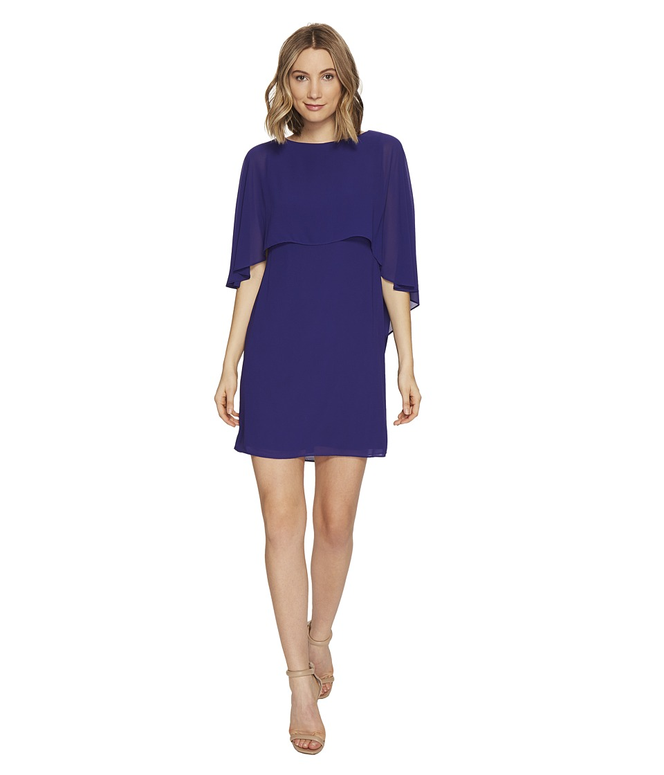 Vince Camuto Dress with Bateau Neckline and Cape Back Overlay (Royal) Women