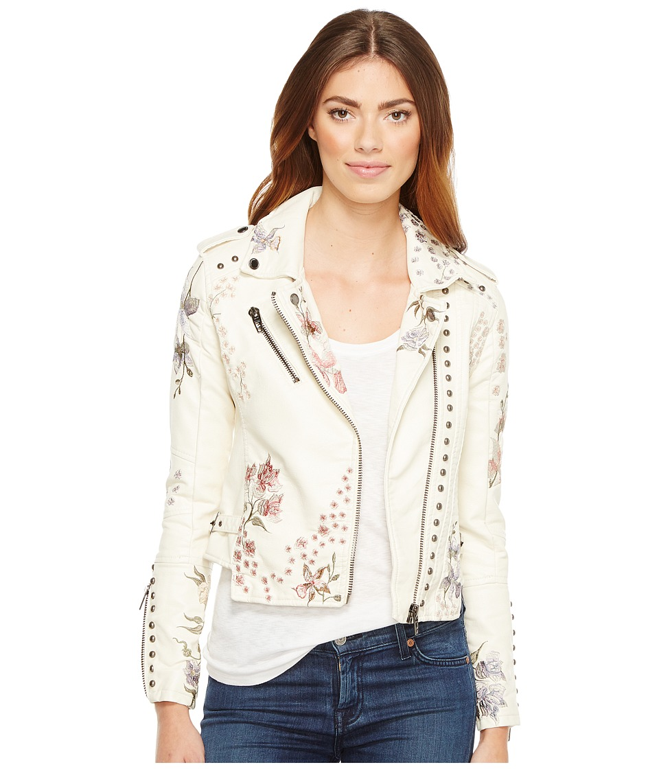 Blank NYC - Beige Floral Embroidered Detail Moto Jacket in In Season