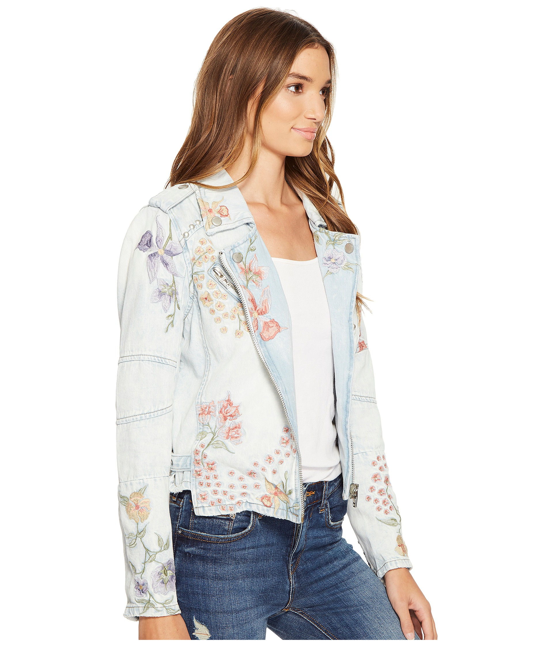 Blank nyc floral embroidered denim studded jacket in